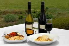 Nourriture et vin Images libres de droits