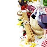 Nourriture et vin italiens Photo libre de droits
