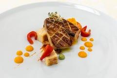 Nourriture exquise assiette Restaurant carte commande Plat exquis, concept créatif de repas de restaurant, nourriture de haute co photos libres de droits