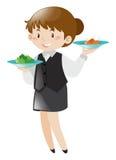 Nourriture femelle de portion de serveur illustration stock