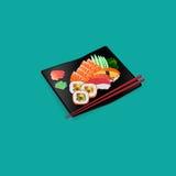 Nourriture fraîche de Japonais de saumons et de sushi Photographie stock libre de droits