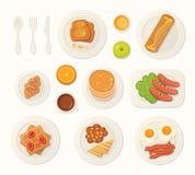 Nourriture fraîche de petit déjeuner et vue supérieure de boissons ensemble de vecteur de repas de petit déjeuner illustration libre de droits