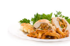 Nourriture gastronome des chanterelles et du poulet Photos libres de droits