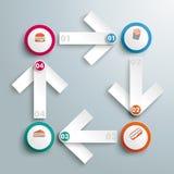 Nourriture grasse blanche PiAd d'Infographic de 4 flèches Photographie stock