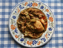 Nourriture grecque Haricots verts en sauce tomate Photo stock