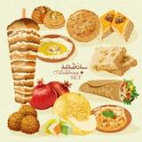 Nourriture halal Arabe avec les pâtisseries et le fruit Photos stock