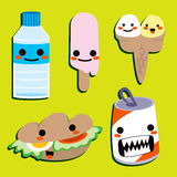 Nourriture heureuse mignonne Images libres de droits