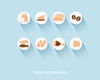 Nourriture infographic avec les icônes plates réglées Photographie stock libre de droits