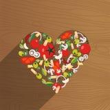 Nourriture italienne de forme de coeur Ingrédient-tomate, olive, oignon, champignon, pâtes, fromage, piment, ail sur le fond en b illustration stock