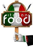 Nourriture italienne - signe avec la main du chef Images libres de droits