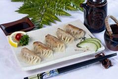 Nourriture japonaise, carte des ravioli de 5 Japonais Photos stock