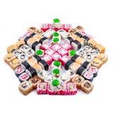 Nourriture japonaise Ensemble de sushi de différents petits pains Image libre de droits