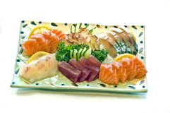 Nourriture japonaise, plaque de sashimi assorti, Photo stock