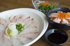 Nourriture japonaise réglée - sashimi de Kampachi Image stock