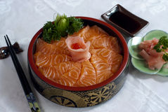 Nourriture japonaise, Sahimi saumoné Photographie stock