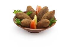 Nourriture libanaise de Kibe frit   Photographie stock libre de droits