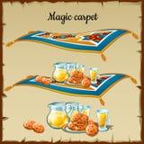 Nourriture magique de tapis, trois images illustration de vecteur