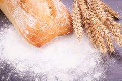 Nourriture naturelle cuite au four fraîche savoureuse de baguette de petit pain de pain Image libre de droits