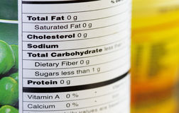 Nourriture non grasse étiquetant, instruction-macro photo stock