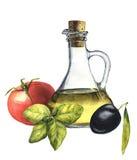 Nourriture populaire méditerranéenne d'aquarelle : tomate, basilic, olive et huile d'olive Images libres de droits
