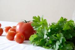 Nourriture réglée avec des tomates Photographie stock libre de droits