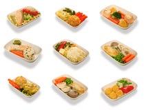 Nourriture réglée pour des passagers d'air de première classe photographie stock