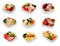 Nourriture réglée pour des passagers d'air de première classe images stock