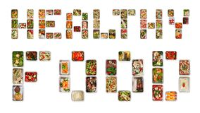 Nourriture saine écrite avec des boîtes d'aluminium avec la nutrition de forme physique photographie stock libre de droits