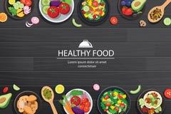 Nourriture saine avec des ingrédients sur le fond en bois foncé de table illustration stock