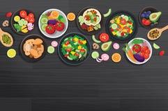 Nourriture saine avec des ingrédients sur le fond en bois foncé de table illustration libre de droits