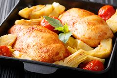 Nourriture saine délicieuse : blanc de poulet avec les artichauts et le tomat photographie stock libre de droits