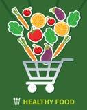 Nourriture saine de achat Nourriture saine dans le panier illustration de vecteur