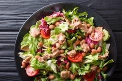 Nourriture saine et délicieuse : salade des thons, haricots de borlotti, images libres de droits