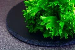 Nourriture saine et de régime : salade verte d'isolement sur le fond foncé Images stock