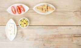 Nourriture saine grecque naturelle de vue supérieure Photo stock
