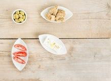 Nourriture saine grecque naturelle de vue supérieure Photographie stock