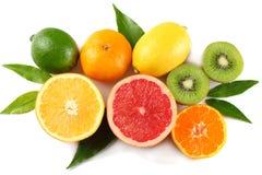 Nourriture saine mélangez le citron coupé en tranches, la chaux verte, l'orange, la mandarine, les kiwis et le pamplemousse à la  Images stock