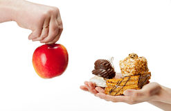 Nourriture saine ou malsaine ? Image stock
