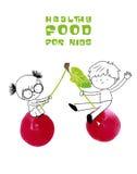 Nourriture saine pour l'illustration de vecteur d'enfants Photo libre de droits