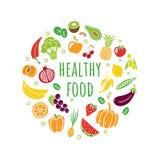 Nourriture saine tirée par la main dans un style organique original Différents fruits et légumes avec le texte editable illustration stock