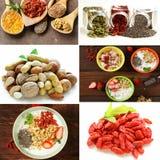Nourriture superbe figée de collage - baies de goji, graines de chia avec des légumes Photos libres de droits