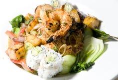 Nourriture thaïe grillée de crevette de nard indien photographie stock libre de droits