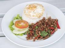 Nourriture thaïe, porc avec le basilic images libres de droits