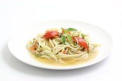 Nourriture thaïe, somtam d'isolement à l'arrière-plan blanc Images libres de droits
