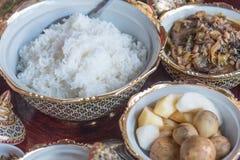 Nourriture thaïlandaise avec du riz avec du porc et des fruits et légumes Photos stock