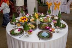 Nourriture thaïlandaise du nord de tradition sur une table en bois, ensemble de menu populaire de nourriture thaïlandaise photos stock