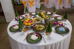 Nourriture thaïlandaise du nord de tradition sur une table en bois, ensemble de menu populaire de nourriture thaïlandaise photos libres de droits