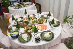 Nourriture thaïlandaise du nord de tradition sur une table en bois, ensemble de menu populaire de nourriture thaïlandaise déjeune photo stock