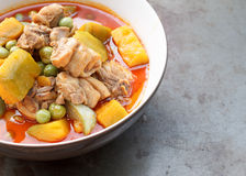 Nourriture thaïlandaise - poulet de cari avec le potiron Photo libre de droits