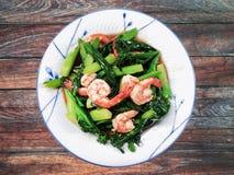 Nourriture thaïlandaise, nourriture traditionnelle thaïlandaise, huître de crevette de chou frisé, émoi frite Photos stock